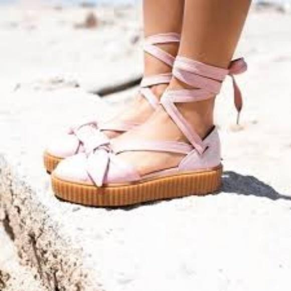 PUMA Pink Rihanna Fenty Bow Creeper Sandals NWT